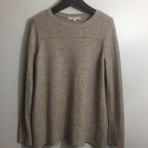 Ann Taylor LOFT knit sweater. Beige. Large